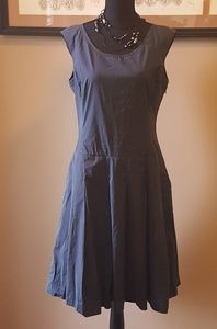 Adorable Blue Pleated Midi-Dress